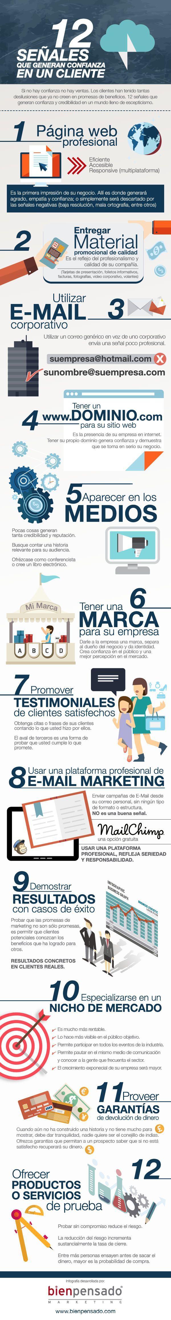 Infografia 12 señales que construyen confianza en un cliente #infografias #infographic