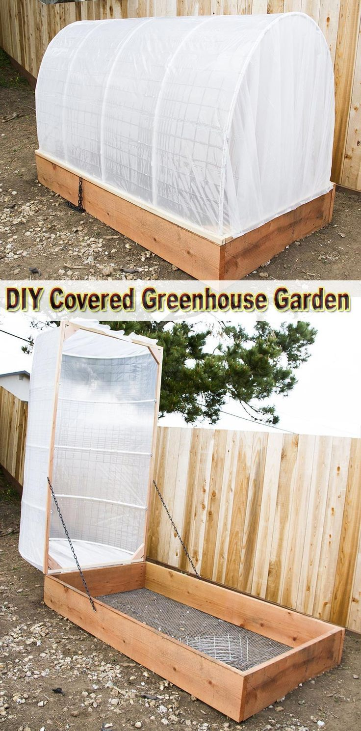 Learn how to make your own covered greenhouse garden. Use this simple idea to help out your plants... #DIY #garden
