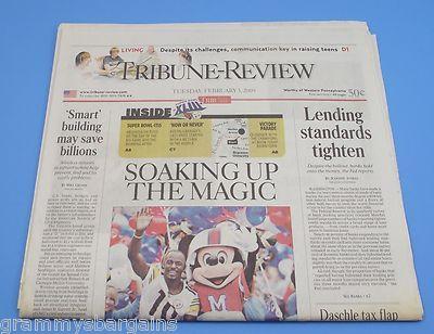Pittsburgh Steelers Super Bowl XLIII Tribune Review 2 3 09 Soaking Up The Magic | eBay