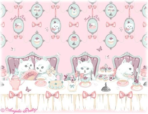 Angelic Pretty border print in collaboration with Imai Kira 猫のお茶会 = Neko no Ochakai = Tea Party of cats