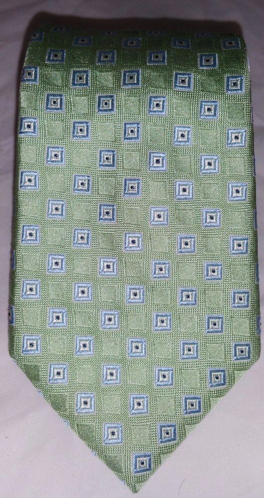 Tommy Hilfiger Green & Blue Checks Geometric Pattern 100% Silk Multicolored…