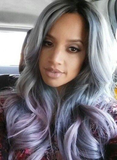 Gray purple ombre pastel hair