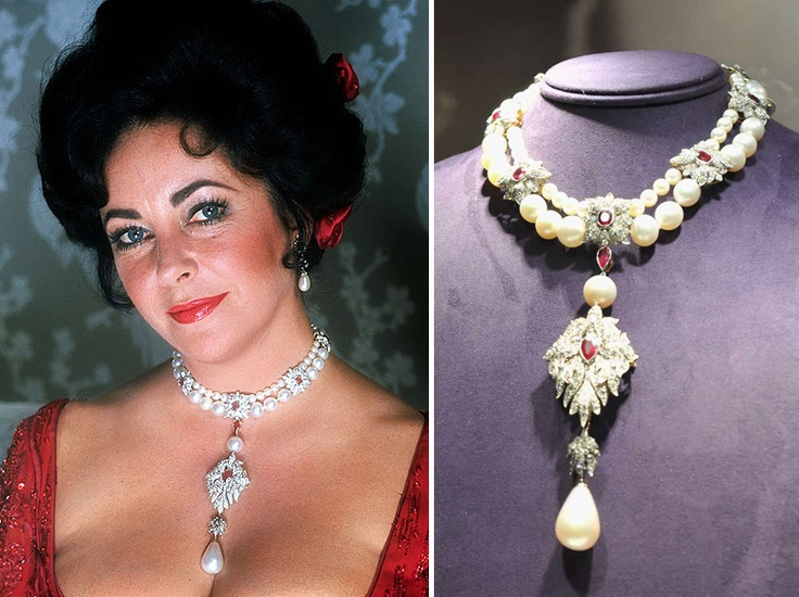Elizabeth Taylor S Diamond Ruby Amp Pearl Necklace