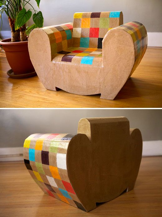 cardboard furniture, Sarah Mouchot under the name 'Bibicarton'