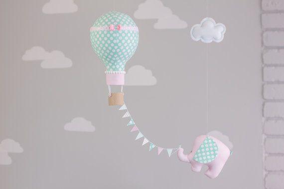 Pink, Aqua baby mobile, Elephant Hot Air Balloon, Baby Mobile, Nursery Decor, Travel Theme Nursery, Circus Theme Nursery, i40