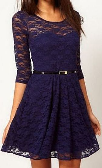 Dark blue lace dress...lovely.  See More in the Pink Basis Shop at:  http://HotWomensClothes.com/pink-basis