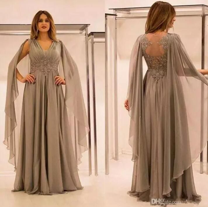 2018 Plus Size Gray Mother Of The Bride Dresses A Line Floor Length V Neck Appliques  Beaded Wedding Guest Women Prom Gowns Cheap Designer Mother Of Bride ... d45dcb5bf744