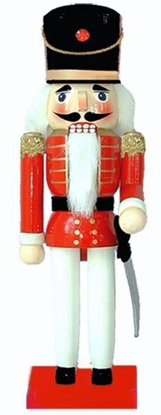 This traditional red and black nutcracker soldier is similar to the ones that have been made in the heart of Germany for more than 500 years. His crisp red jacket, black hat and white dress pants look all ready for inspection and he'll add an Old World Christmas charm to your mantel or under your holiday tree.