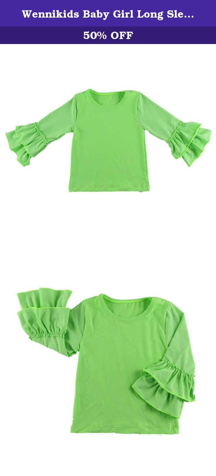 Wennikids Baby Girl Long Sleeve Shirt Tops with Ruffles 1-5t in Various Colors (5T, Lime). Material:Cotton Size:S,M,L,XL,XXL 5 sizes for 1-5T Long Sleeves With Double Ruffles 14 Colors Total.