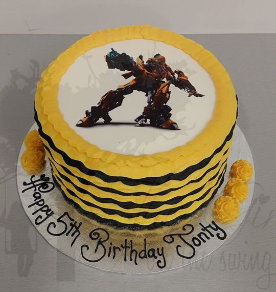Black and Yellow Frills with Bumble Bee Transformer Edible Image