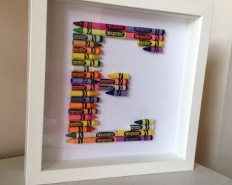 Crayon Letter Picture by EllieRoseByHannah on Etsy
