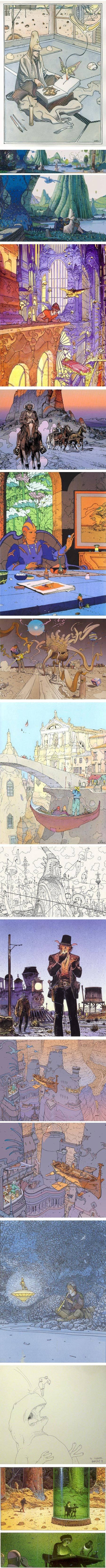I spent some time trying to select the right images for this post. I found the top one particularly appropriate; if there's any artist that I associate with magic coming to life from the pages of a book, it's French comics artist, illustrator and movie concept artist Jean Giraud, more commonly known by his pen name, Moebius.    I was saddened to learn that Giraud died today, March 10, 2012, at the age of 73.