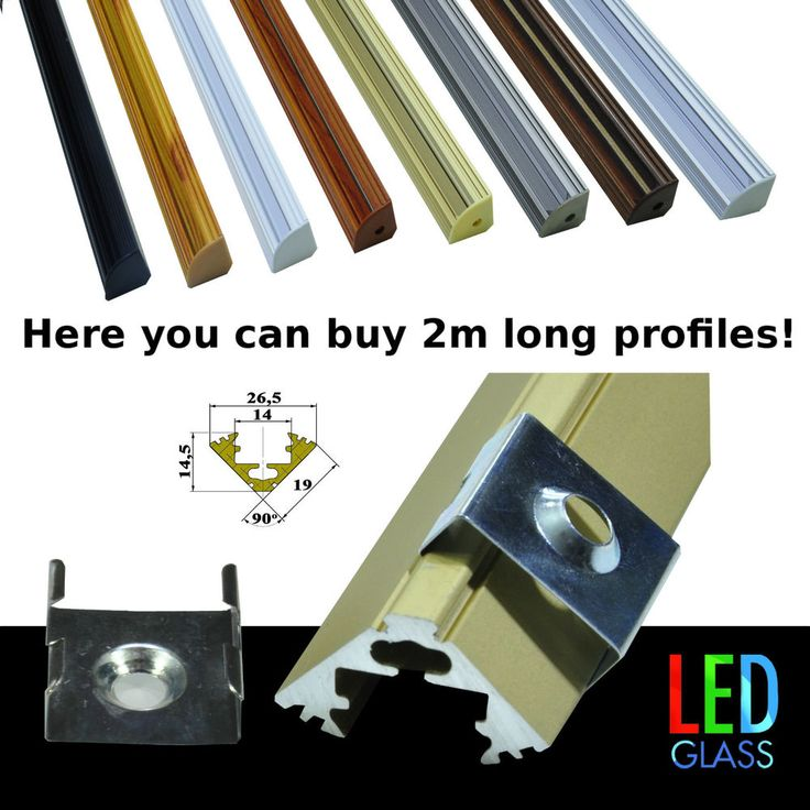 1m, 2m, Aluminium corner profile for LED strips striplight covers end caps clips