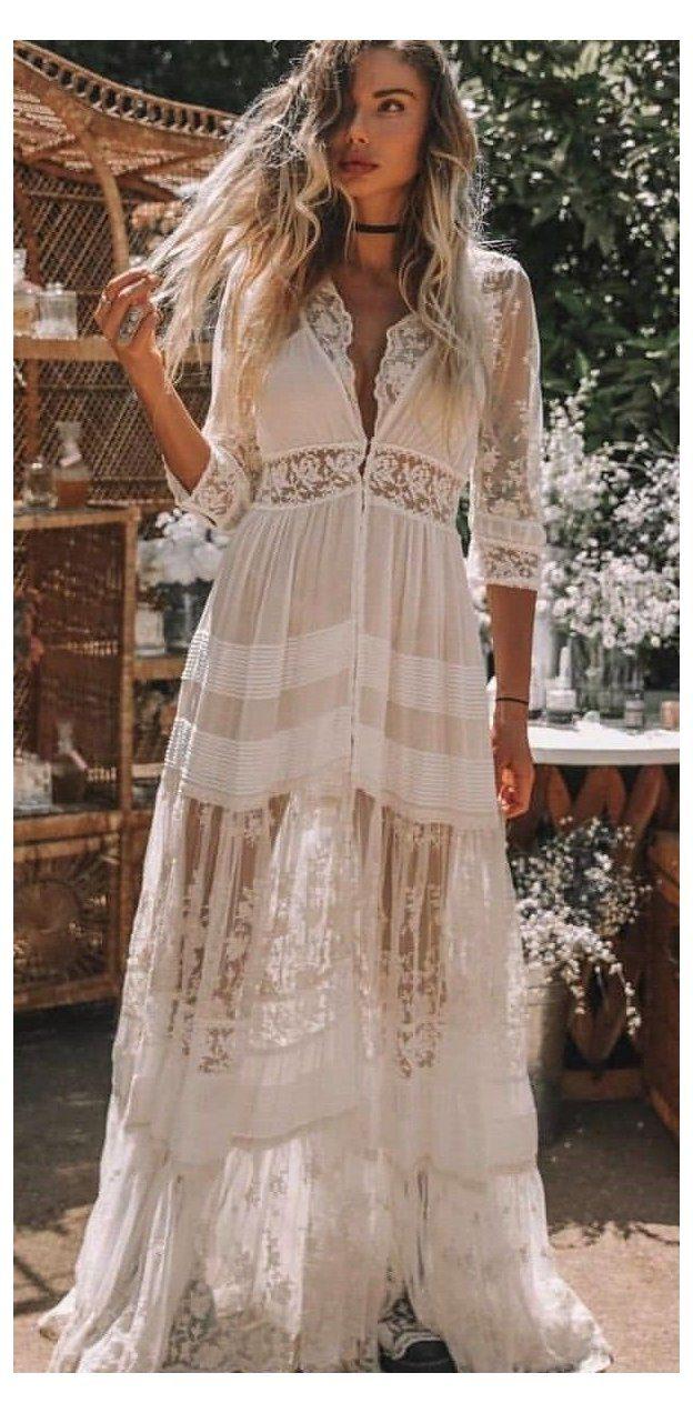 bohemian white dress