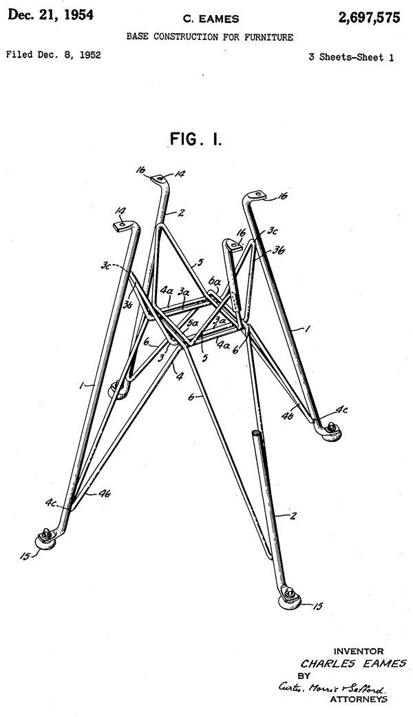 "Modernica's Eiffel Chair Base Design by Charles Eames: ""Beware of the person who can't be bothered by details."" – William Feather This is the drawing for the patent that Charles Eames submitted in 1952 and was approved for in 1954 for the Eiffel base design. via blog.modernica #Chair_Base #Eiffel #Charles_Eames"