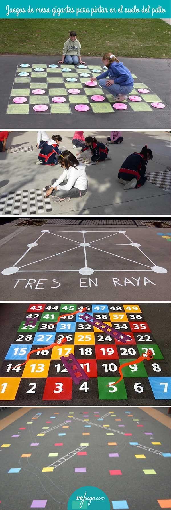 juegos de mesa gigantes para pintar en el suelo del patio y jugar