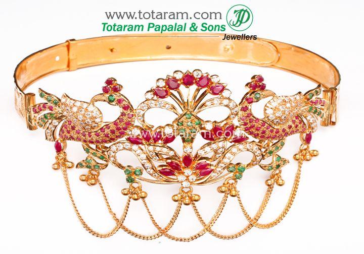 Karat Gold Arm Vanki - Arm Patti - Armlet - Arm Belt - Ruby & Emerald Arm Vanki - Arm Patti - Armlet
