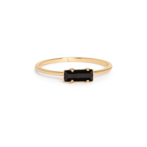Tiny Baguette Ring - Jet Black Crystal - Bing Bang NYC - 1