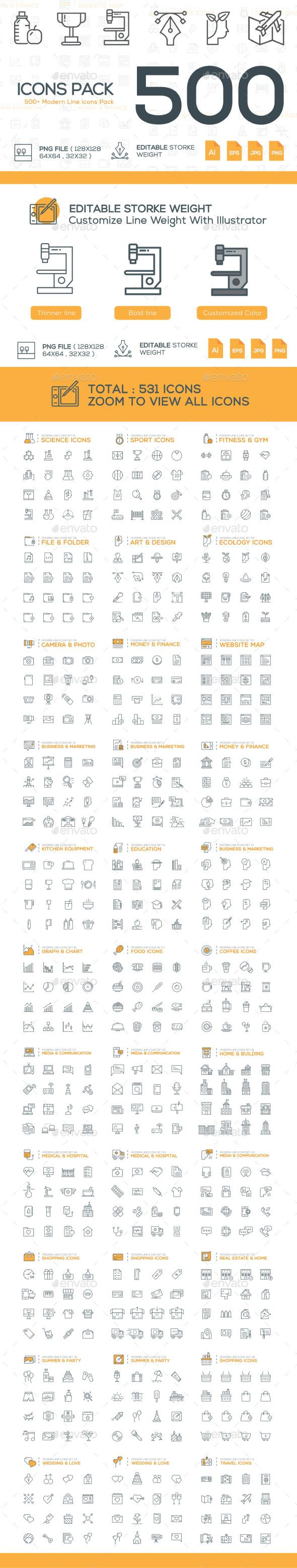 531 Modern Line Icons #design Download: http://graphicriver.net/item/531-modern-line-icons/12700656?ref=ksioks