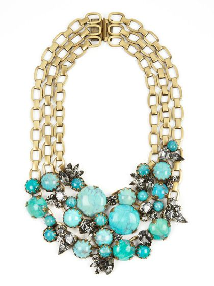 Turquoise & Crystal Multi-Chain Necklace by Elizabeth Cole.