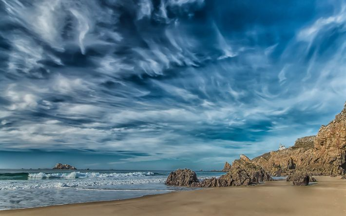 Herunterladen hintergrundbild camaret-sur-mer, küste, meer, blauer himmel, bretagne, frankreich
