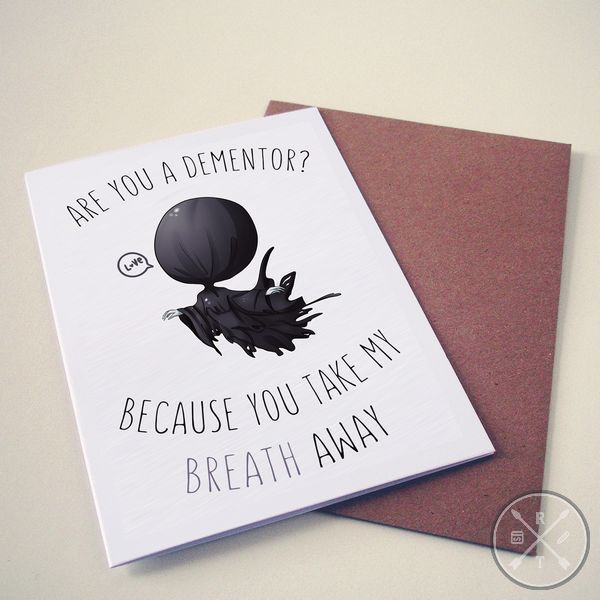 Harry Potter Themed Valentines Day Card Dementor Harry Potter Valentines Harry Potter Valentines Cards Harry Potter Birthday Cards