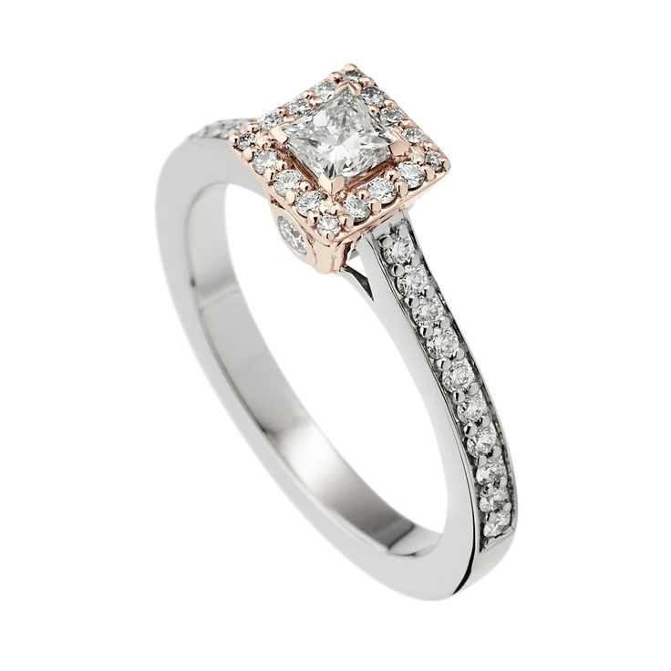 'Satin Luminaire' in 18K Rose and White Gold from John Atencio with a fine John Atencio diamond curated for brilliance.