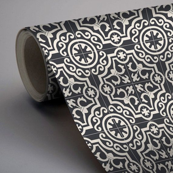 Moroccan Lys Wallpaper in Black  Removable Vinyl Wallpaper - Peel & Stick - No Glue, No Mess