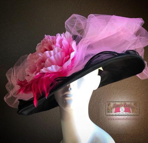 Tropic Beauty - Floppy Hat with Big white Peony Flower Jean Blue Bow  Kentucky Derby Race 7c44603109cf