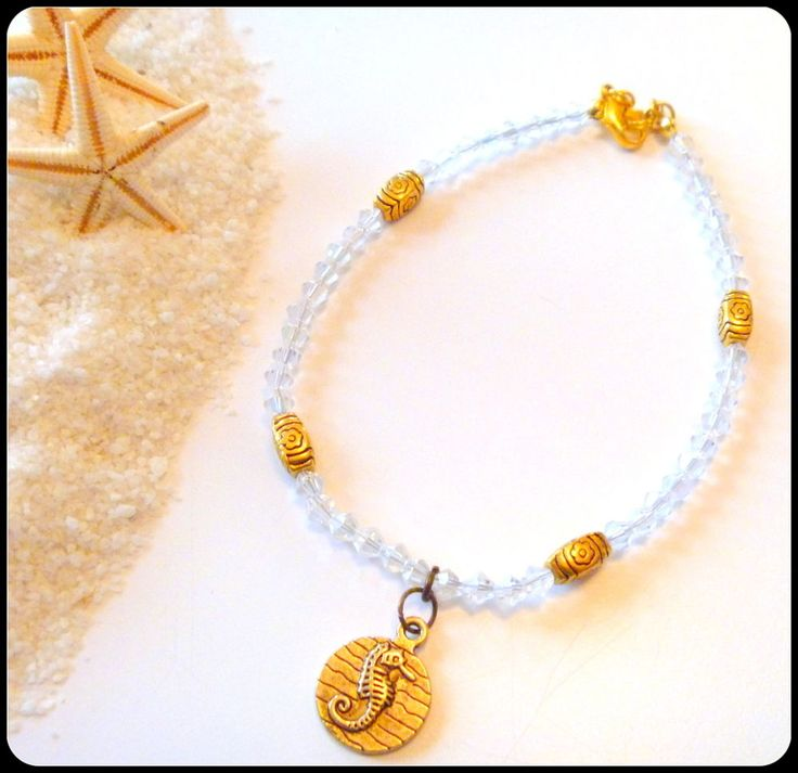 Handcrafted Clear Crystal Beaded Ankle Bracelet with Sea Horse Charm #Handmade