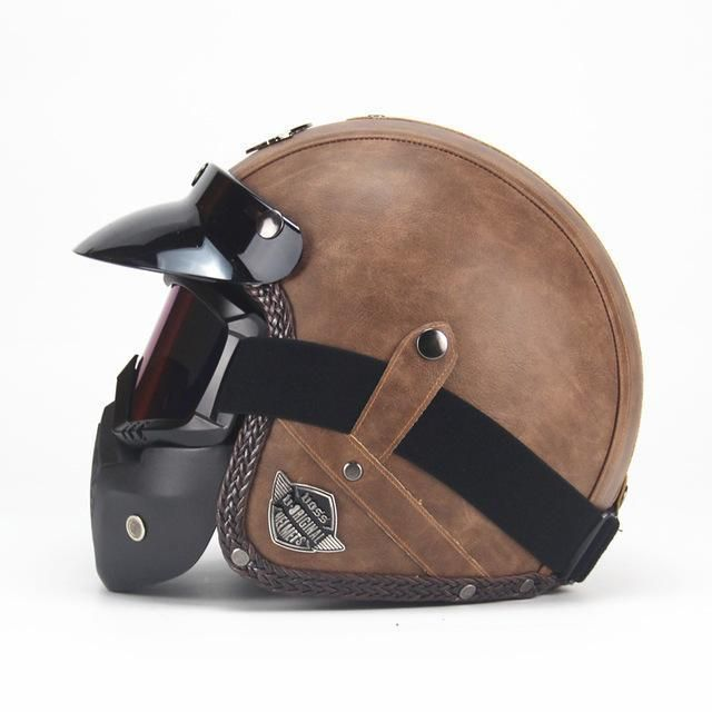 Leather Vintage Helmet Old Brown With Mask Harleydavidsonbreakout Leather Motorcycle Helmet Vintage Helmet Harley Helmets
