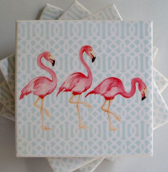 Ceramic Tile Coasters 3 Flamingos Retro Style 001 by RetroPickles