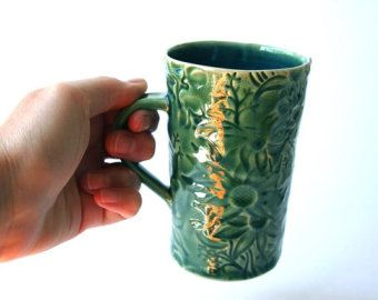Green Mug with Australian Flannel Flower Design handcrafted by DMPottery