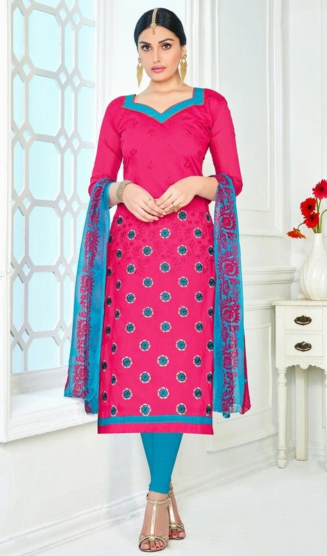 Churidar Suit in Pink Color Embroidered Chanderi