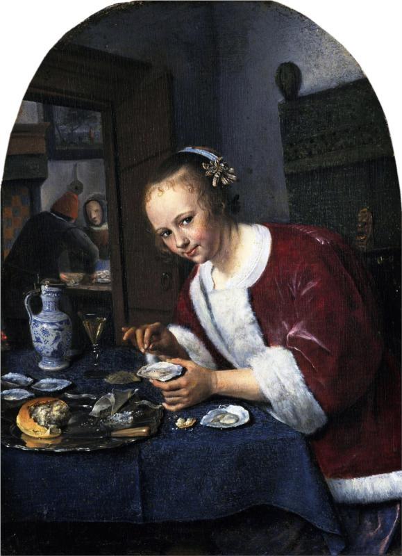 Girl Eating Oysters: 1658-1660 by Jan Steen (Mauritshuis, Netherlands) (viewed at High Museum, Atlanta Exhibit Summer 2013)