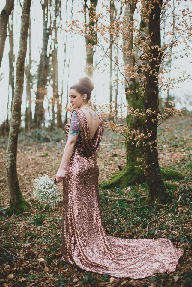 Non-traditional bronze sequin wedding dress. Old school meets glam!