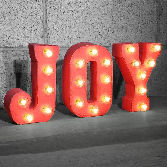 joy rustic metal letter marquee sign light white red by rustalgic