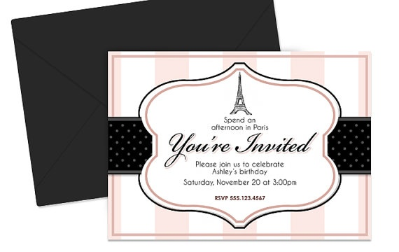 Paris Themed Party Invitation  Birthday Shower by shopleanne, $8.00