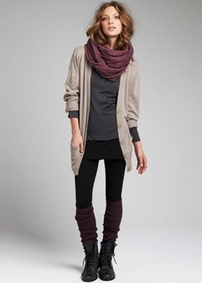 cardigan with knee socks and lace up boots... I have GOT to get some knee high socks!!!