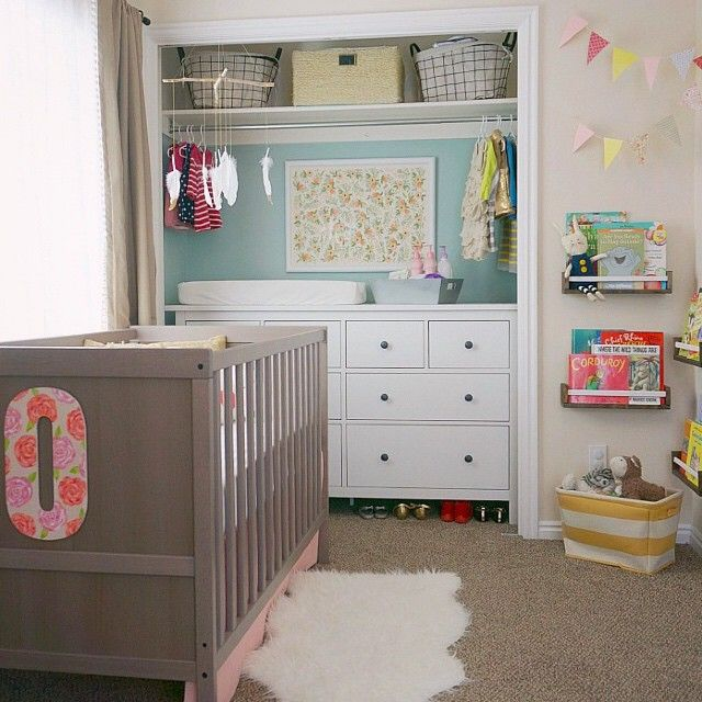 """""""This shared baby and toddler room was short on space, so Mom put the dresser/changing table in the closet and took off the doors to open up the space. We…"""""""