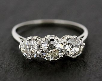 Antique Engagement Ring - Three Stone Diamond & Platinum Edwardian Antique Engagement Ring