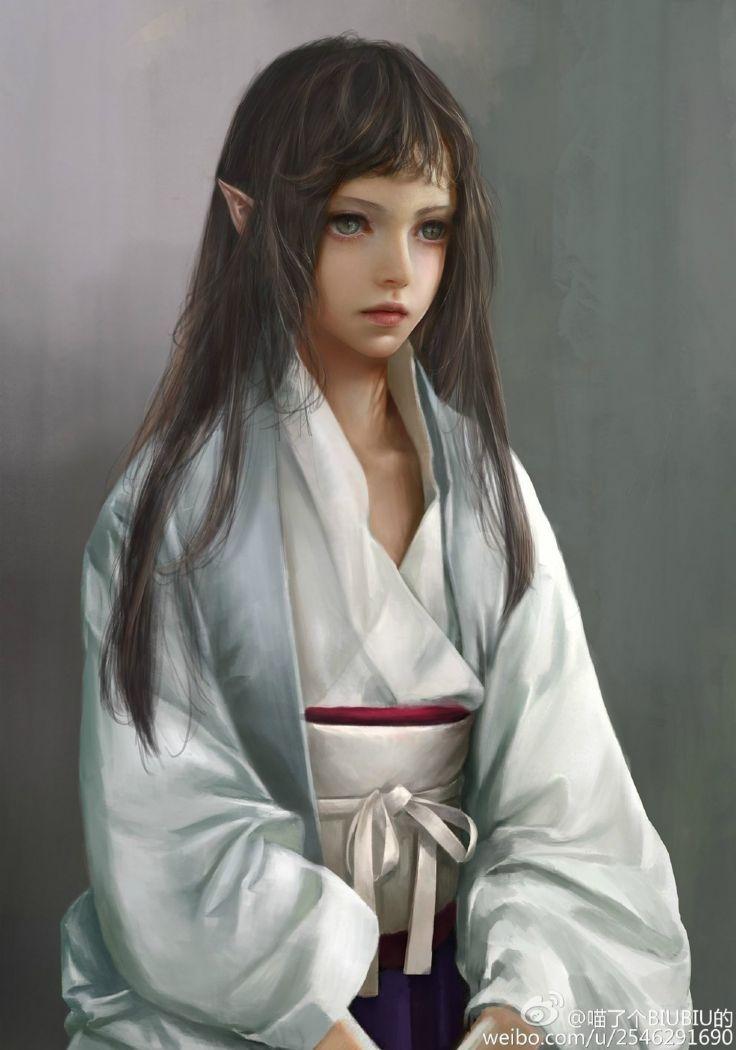 elf art girl kimono original long hair fantasy green eyes