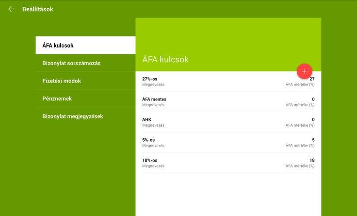 Tablet Számla Beállítások ÁFA kulcsok kezelése  https://play.google.com/store/apps/details?id=com.tabletinvoice.app