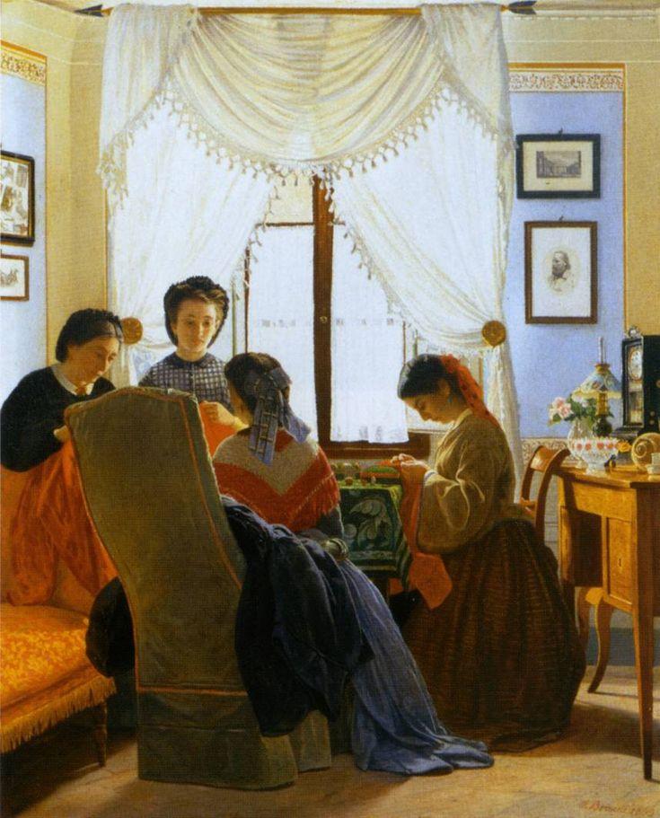 ODOARDO BORRANI   (Pisa 1833 – Firenze 1905) Le cucitrici di camicie rosse  (1863), Collezione privata