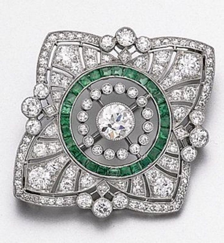 Beautiful Green Baguette Round Cocktail Party Brooch 925 Sterling Silver Cz Gift #NikiGems