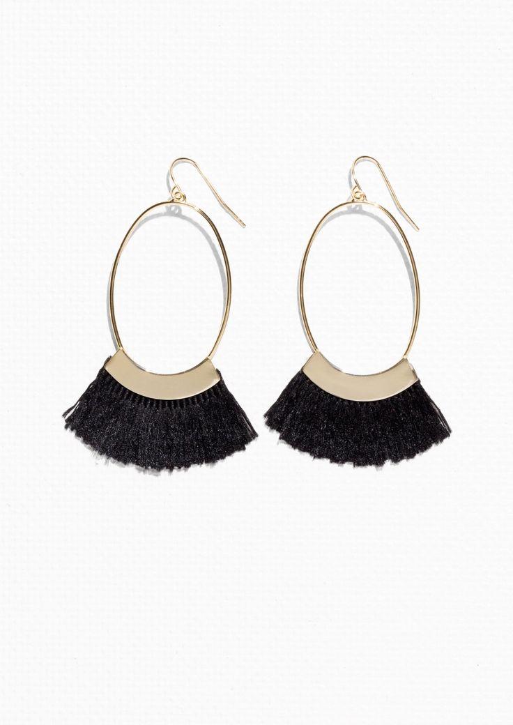 & Other Stories Oval Fringe Earrings in Black