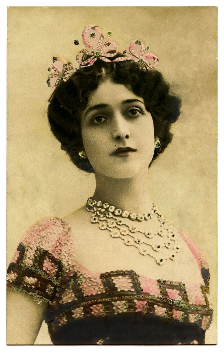 Antique Image - Lina Cavalieri - with Crown - The Graphics Fairy