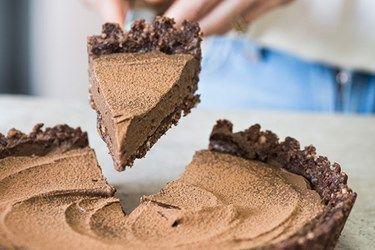 Raw cacao and espresso tart