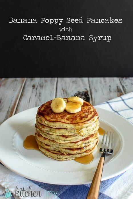 Banana Poppy Seed Pancakes with Caramel-Banana Syrup via @Mandy Bryant ...