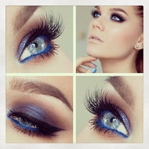 Blue eyeliner in the waterline and natural eye